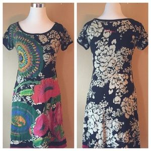 Desigual Floral Bling Colorful Cotton Dress Jewels